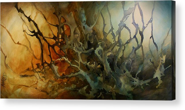 Abstract Design Decorative Organic Interior Decor Large L Acrylic Print featuring the painting Abstract Design 53 by Michael Lang