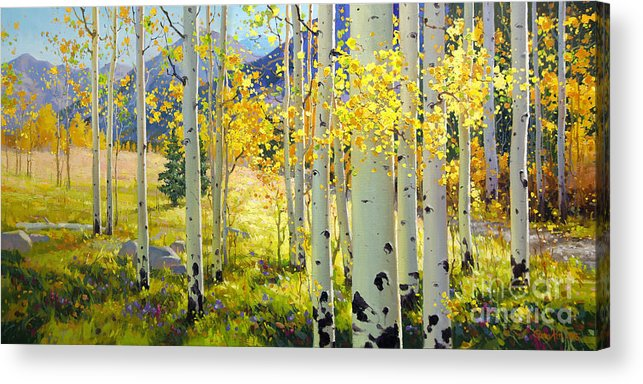 Aspen Oil Painting Birch Trees Gary Kim Oil Print Art Woods Fall Autumn Tree Panorama Sunset Beautiful Beauty Yellow Red Orange Fall Leaves Foliage Autumn Leaf Color Mountain Oil Painting Original Art Horizontal Landscape National Park America Morning Nature Wallpaper Outdoor Panoramic Peaceful Scenic Sky Sun Time Travel Vacation View Season Bright Autumn National Park Southwest Mountain Clouds Cloudy Landscape Afternoon Aspen Grove Natural Peak Painting Oil Original Vibrant Texture Reflections Acrylic Print featuring the painting Afternoon Aspen Grove by Gary Kim