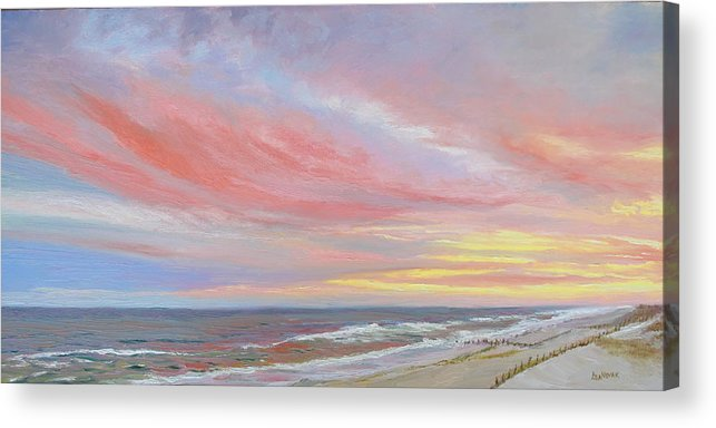Seascape Acrylic Print featuring the painting Alberta's Sunset by Lea Novak