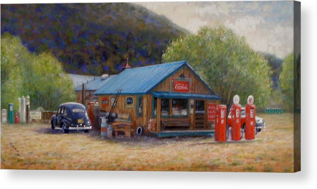 Realism Acrylic Print featuring the painting Below Taos 2 by Donelli DiMaria