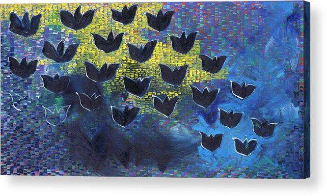 Abstract Pattern Birds Black Yellow Blue Horizontal Shapes Shadows Acrylic Print featuring the painting Blackbirds by Joan De Bot