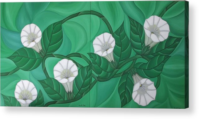 Marinella Owens Acrylic Print featuring the painting Calystgia Sepium by Marinella Owens