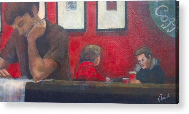 Coffe Shop Acrylic Print featuring the painting Catching Up by Victoria Heryet