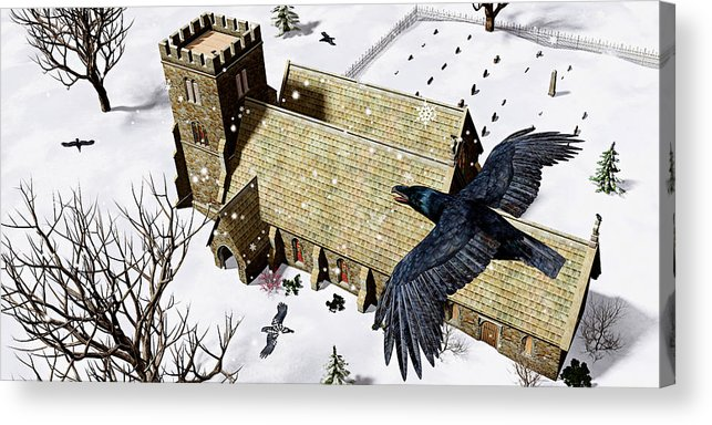 Ravens Acrylic Print featuring the digital art Church Ravens by Peter J Sucy