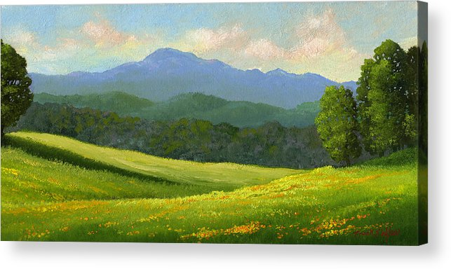Landscape Acrylic Print featuring the painting Dandelion Meadows by Frank Wilson