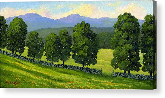 Landscape Acrylic Print featuring the painting Distant Mountains by Frank Wilson