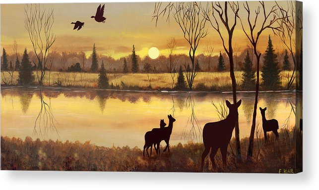Deer Wildlife Sunrise Water Woods Scenery Landscape Acrylic Print featuring the painting Early Morning Alert1 by Eileen Blair