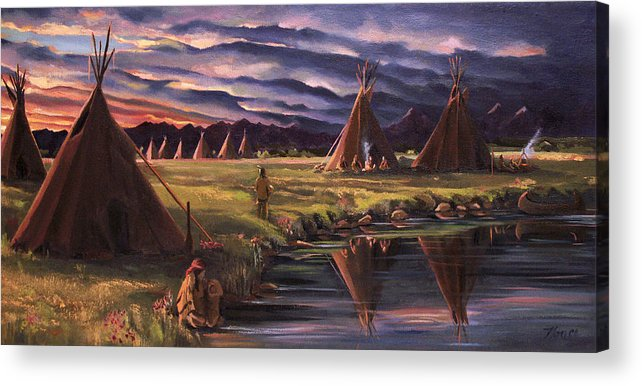 Native American Acrylic Print featuring the painting Encampment At Dusk by Nancy Griswold