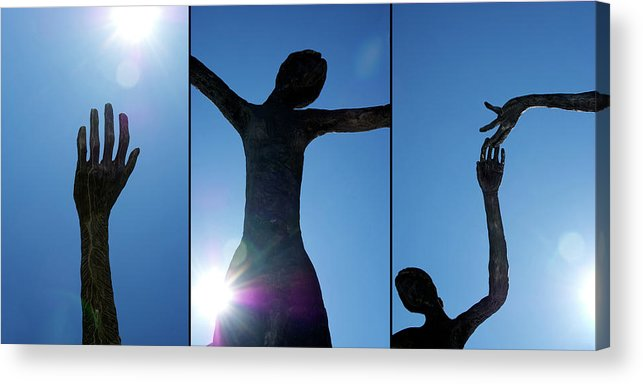 This Triptych Is Composed From Glimpses Of the Family Of Man Sculpture By Mario Armengol Shot Against The Blue Acrylic Print featuring the photograph Family Of Man by Lisa Knechtel