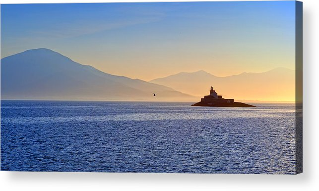 Fenit Lighthouse Acrylic Print featuring the photograph Fenit Lighthouse Ireland by Stefan Schnebelt