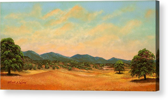 Landscape Acrylic Print featuring the painting Foothills by Frank Wilson