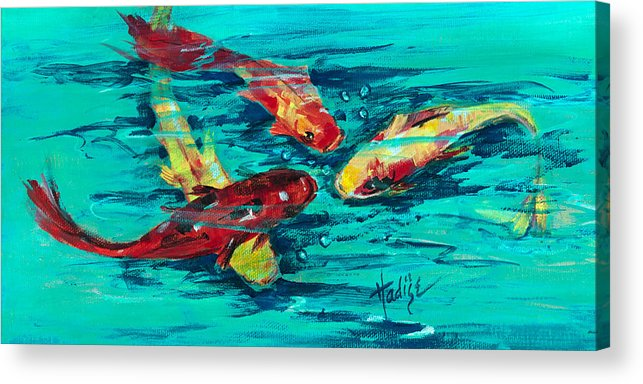 Koy Acrylic Print featuring the painting Four Koi by Mary DuCharme