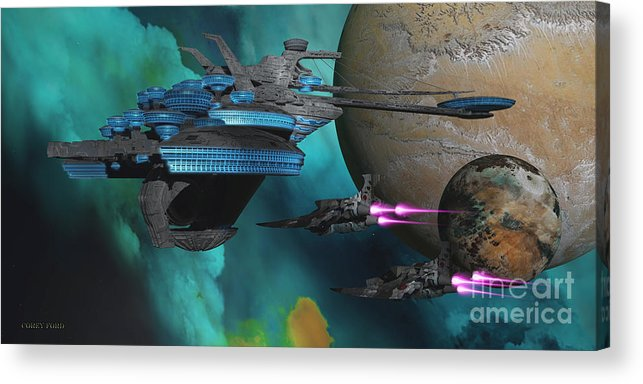 Space Art Acrylic Print featuring the painting Green Nebular Expanse by Corey Ford