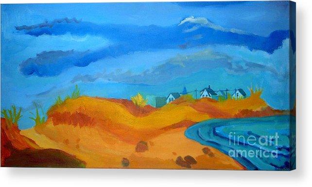 Ocean Acrylic Print featuring the painting Hampton Dunes by Debra Bretton Robinson