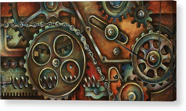 Mechanical Painting Acrylic Print featuring the painting Harmony by Michael Lang
