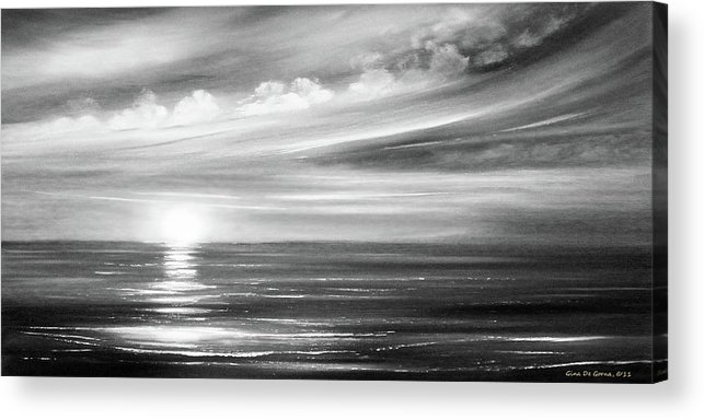 Sunset Acrylic Print featuring the painting Here It Goes In Black And White by Gina De Gorna