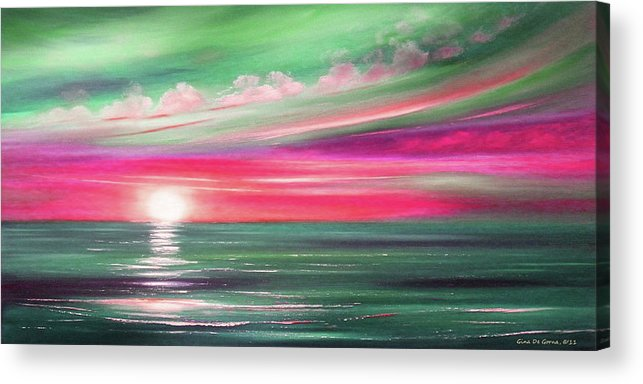 Brown Acrylic Print featuring the painting Here It Goes In Teal And Magenta Panoramic Sunset by Gina De Gorna