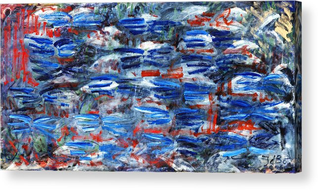 Abstract Blue Red White Speed Rectangular Acrylic Print featuring the painting Inside Out by Joan De Bot