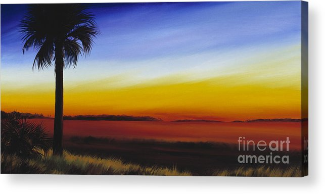 Palmetto Tree Acrylic Print featuring the painting Island River Palmetto by James Christopher Hill