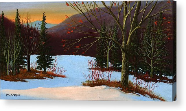 Winter Acrylic Print featuring the painting Last Light Of Day by Frank Wilson