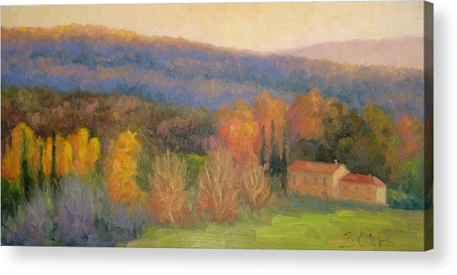 Tuscany Acrylic Print featuring the painting Lingering Light - Tuscany by Bunny Oliver