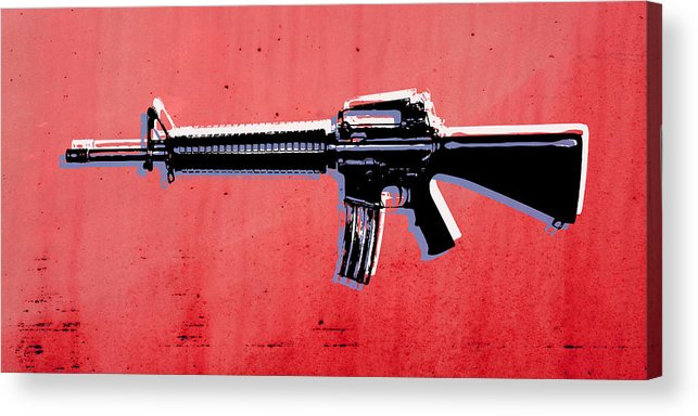 M16 Acrylic Print featuring the digital art M16 Assault Rifle On Red by Michael Tompsett