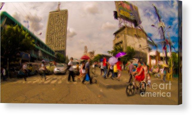 Manila Acrylic Print featuring the mixed media Manila Crosswalk 6292972 by Rolf Bertram