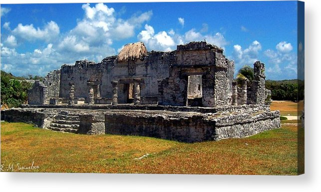 Landscape Acrylic Print featuring the photograph Mayan Ruins In Tulum 2 by Elise Samuelson