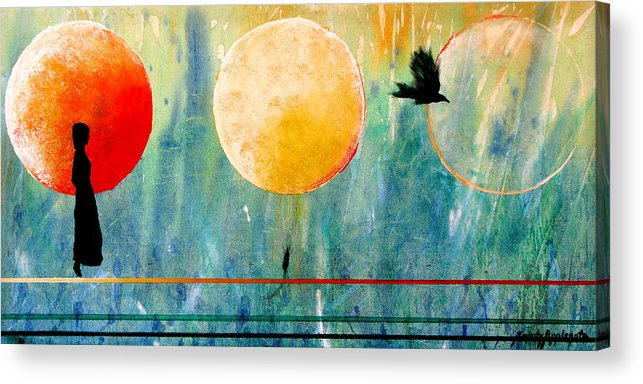 Raven Acrylic Print featuring the painting Memories Of Lenore by Sandy Applegate