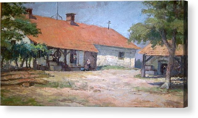 Old World Farmhouse Acrylic Print featuring the mixed media Old World Slovenian Farmhouse by Sherri's - Of Palm Springs