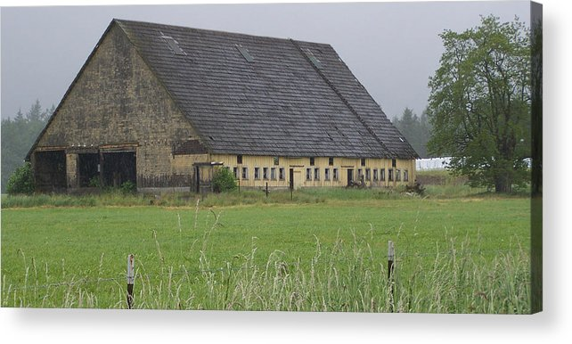Barn Photography Acrylic Print featuring the photograph Old Yellow Barn  Washington State by Laurie Kidd