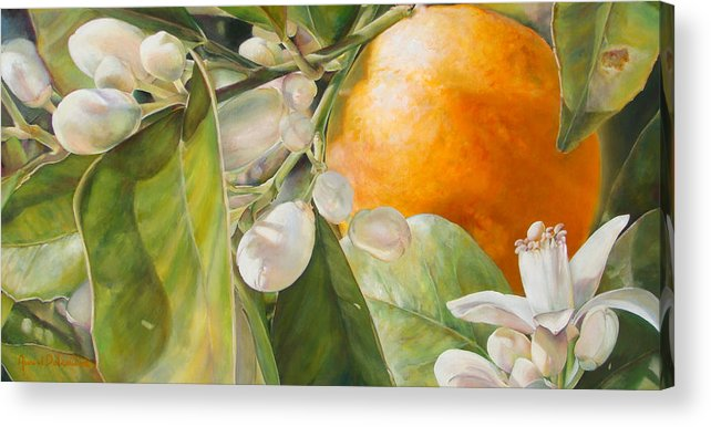 Floral Painting Acrylic Print featuring the painting Orange Fleurie by Dolemieux