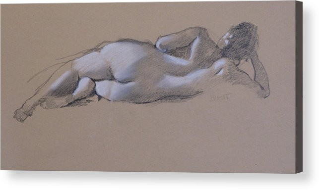 Drawing Acrylic Print featuring the drawing Reclining Nude 1 by Robert Bissett