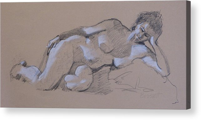 Life Acrylic Print featuring the drawing Reclining Nude 2 by Robert Bissett