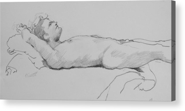 Life Acrylic Print featuring the drawing Reclining Nude 3 by Robert Bissett