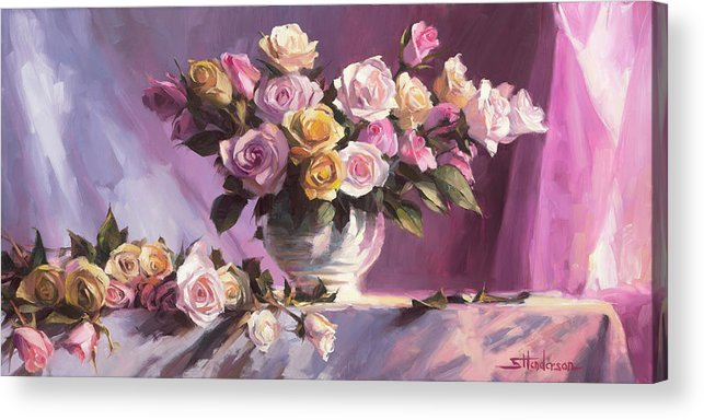 Flower Acrylic Print featuring the painting Rhapsody Of Roses by Steve Henderson