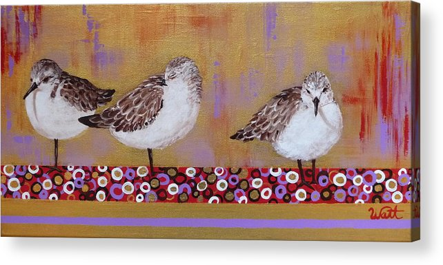 Sandpipers Acrylic Print featuring the painting Sandpipers On The Emerald Coast by Tammy Watt