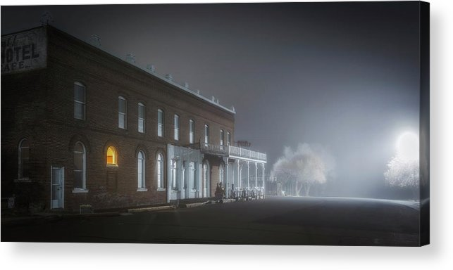 Night Acrylic Print featuring the photograph Shaniko Hotel by Cat Connor