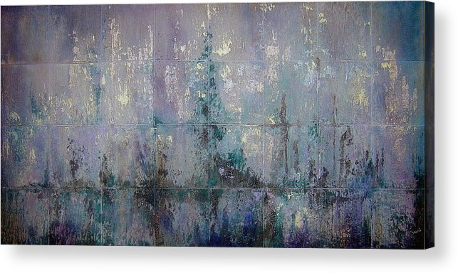 Abstract Acrylic Print featuring the painting Silver And Silent by Shadia Derbyshire