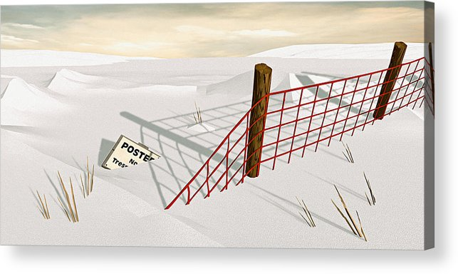 Snow Acrylic Print featuring the painting Snow Fence by Peter J Sucy
