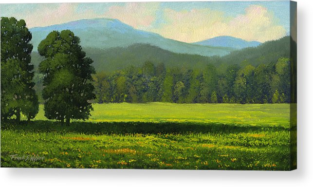 Landscape Acrylic Print featuring the painting Spring Flowers by Frank Wilson