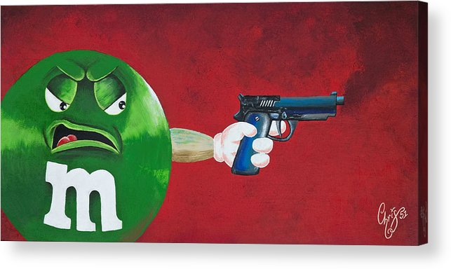 M & M Acrylic Print featuring the painting Taste The Rainbow Of Bullets Bitch Part 1 by Chris Fifty-one