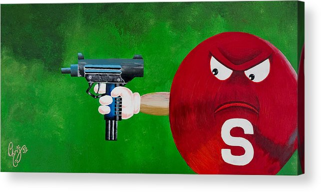M & M Acrylic Print featuring the painting Taste The Rainbow Of Bullets Bitch Part 2 by Chris Fifty-one