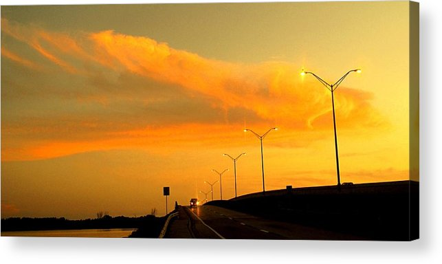 Sunset Acrylic Print featuring the photograph The Bridge At Sunset by Ian MacDonald
