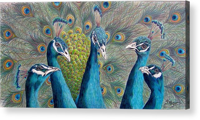 Animal Acrylic Print featuring the drawing The City Council by Susan Moyer