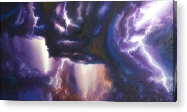 Tempest Acrylic Print featuring the painting The Lightning by James Christopher Hill