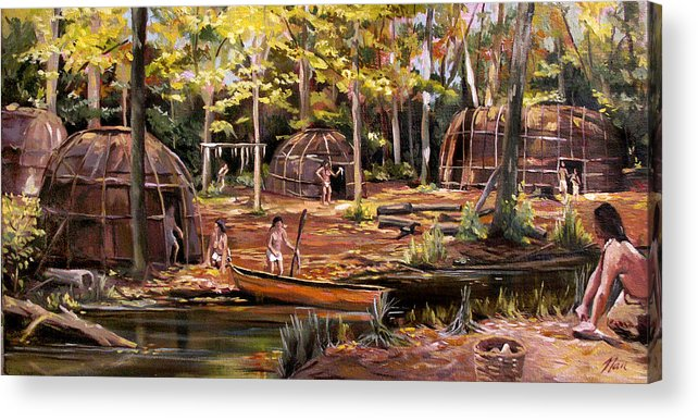 Institute Of American Indian Acrylic Print featuring the painting The Pequots by Nancy Griswold