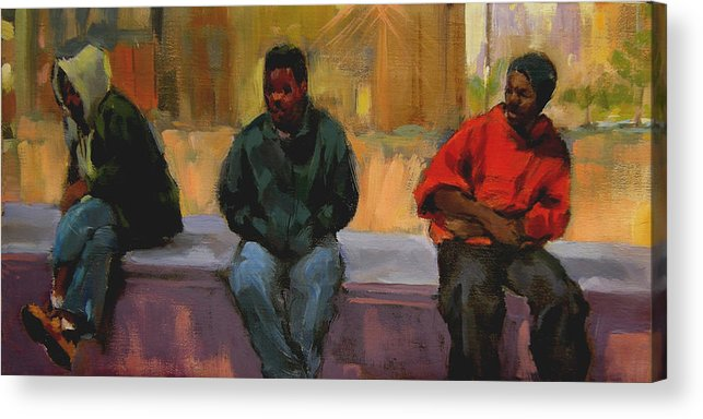 Figurative Acrylic Print featuring the painting Three Africans by Merle Keller
