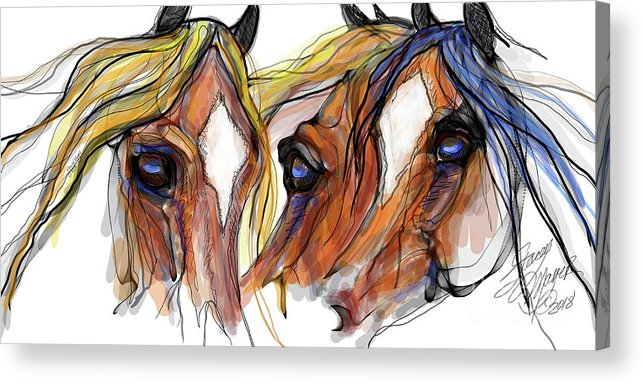 Animal Art Acrylic Print featuring the digital art Three Horses Talking by Stacey Mayer