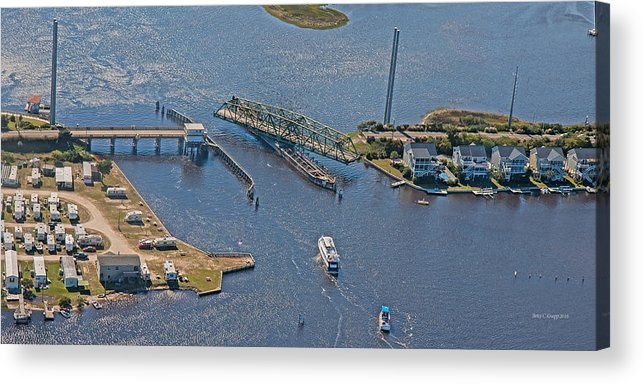 Topsail Acrylic Print featuring the photograph Topsail Swing Bridge by Betsy Knapp